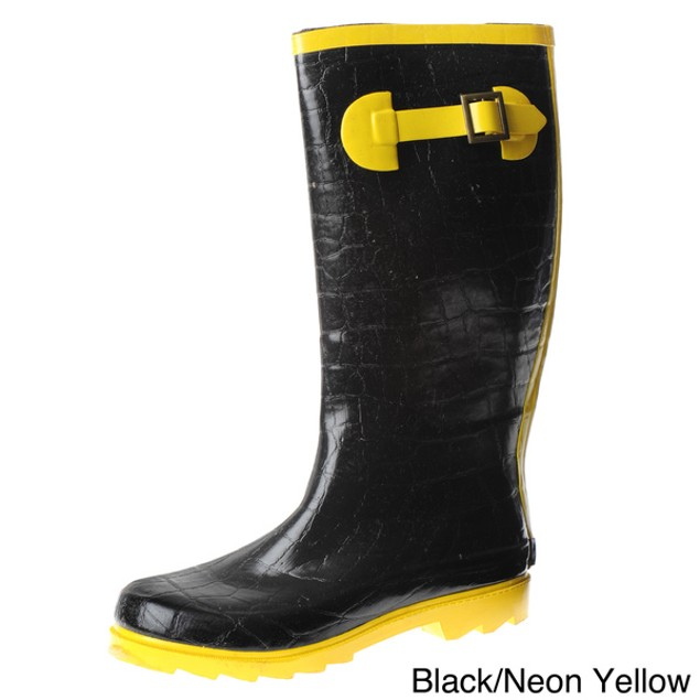 Henry Ferrera Women's Neon Style Rain Boots - Pink or Yellow