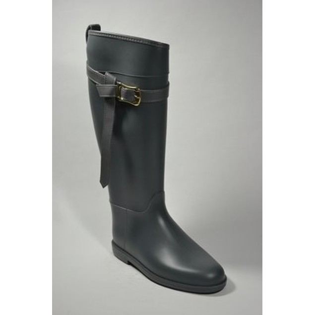 Fashion Equestrian Waterproof Rain Boots - Grey
