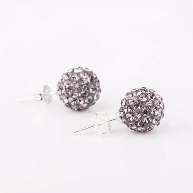 Vivid Light Austrian Stone Onyx Stud Earrings