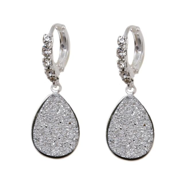18K White Gold Silver Druzy Crystal and Cubic Zirconia Teardrop Drop Huggie Earrings
