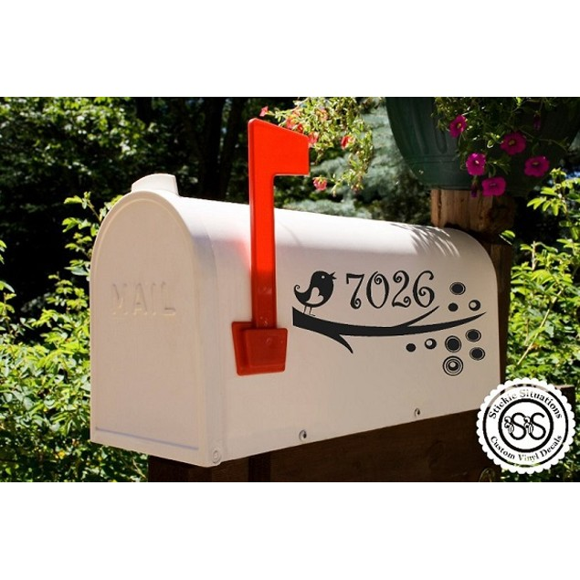 Swirly Leaf Vinyl Mailbox Decal