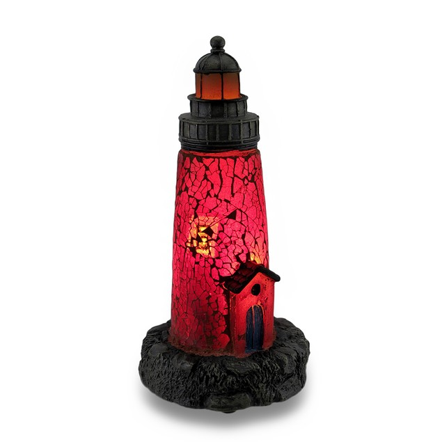 Red Crackled Glass Light House Accent Lamp Night Accent Lamps