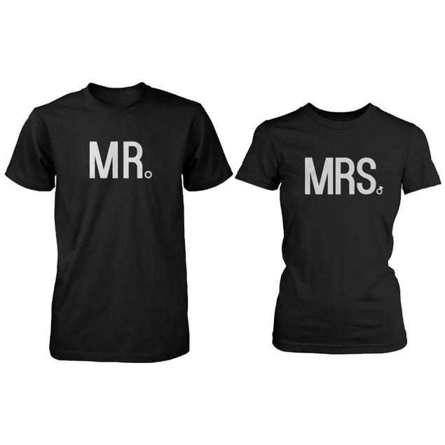 Matching Couple Shirts - Mr and Mrs Wedding Bands Black Cotton T-shirt Set
