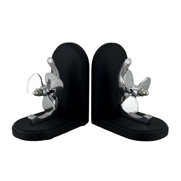 Aluminum And Wood Nautical Propeller Bookends Decorative Bookends