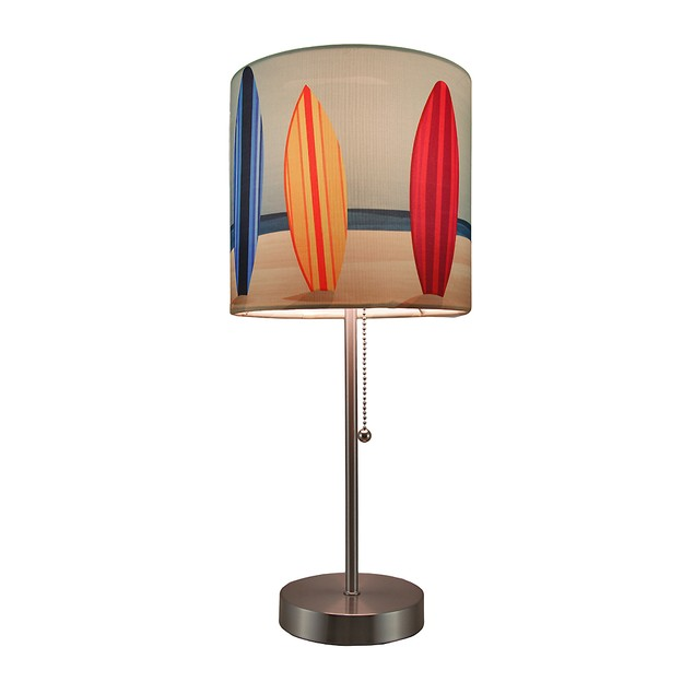 Surfboard Beach Stainless Steel Accent Lamp Table Lamps