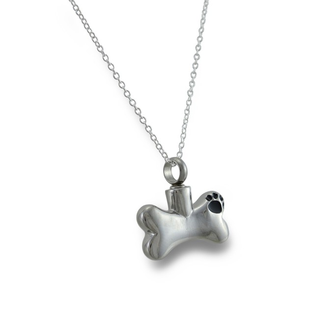 Stainless Steel Dog Bone Keepsake Vial Pendant W/ Womens Pendant Necklaces