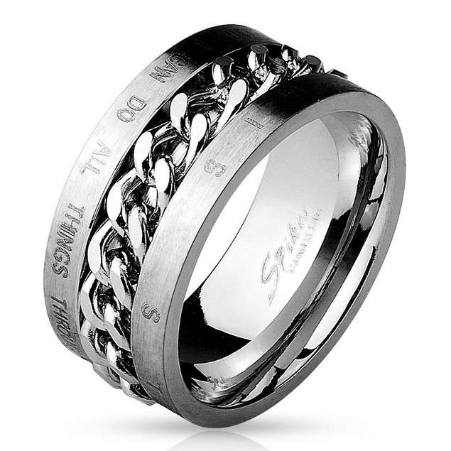 Chain Spinner Center with Bible Words 316L Stainless Steel Ring