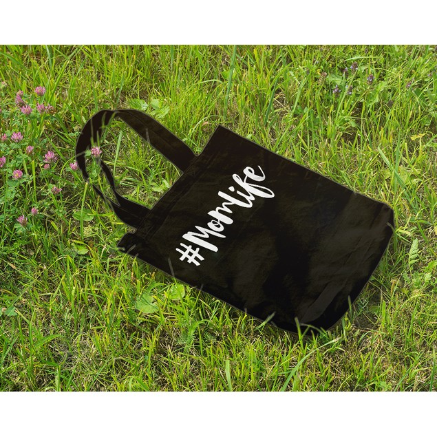 #MOMLIFE Mom Life Black Tote Bag