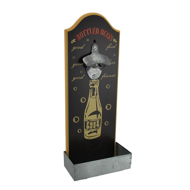 Wall Mounted Retro Beer Bottle Opener W/ Cap Bottle Openers
