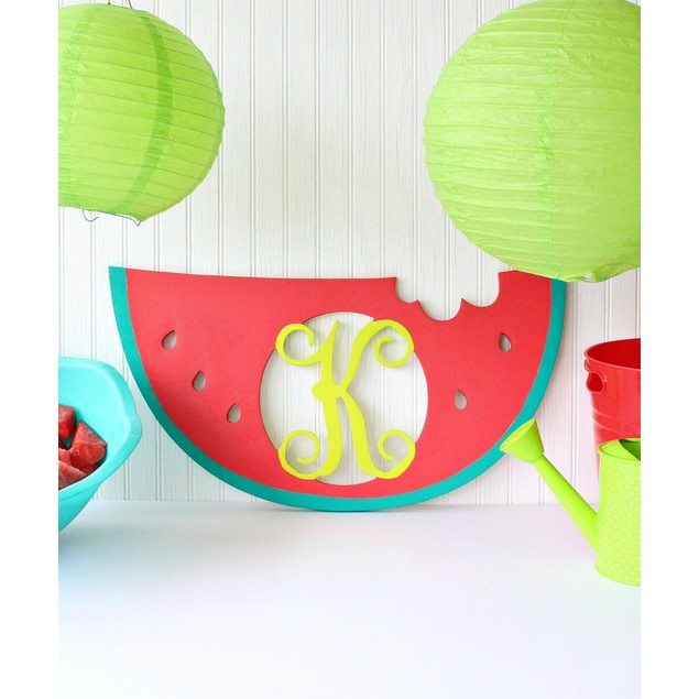 "22"" Unfinished Wood Watermelon Monogram"