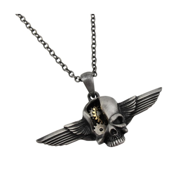 Steampunk Style Winged Skull Two Tone Pendant And Mens Pendant Necklaces