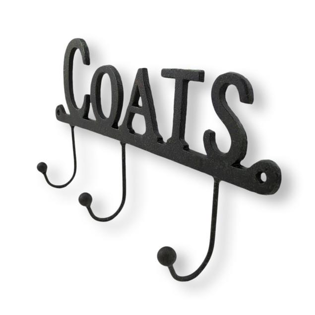 Cast Iron `Coats` Wall Hooks Decorative Wall Hooks