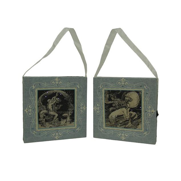 Led Lighted Vintage Mermaid Canvas Print Set Of 2 Decorative Plaques