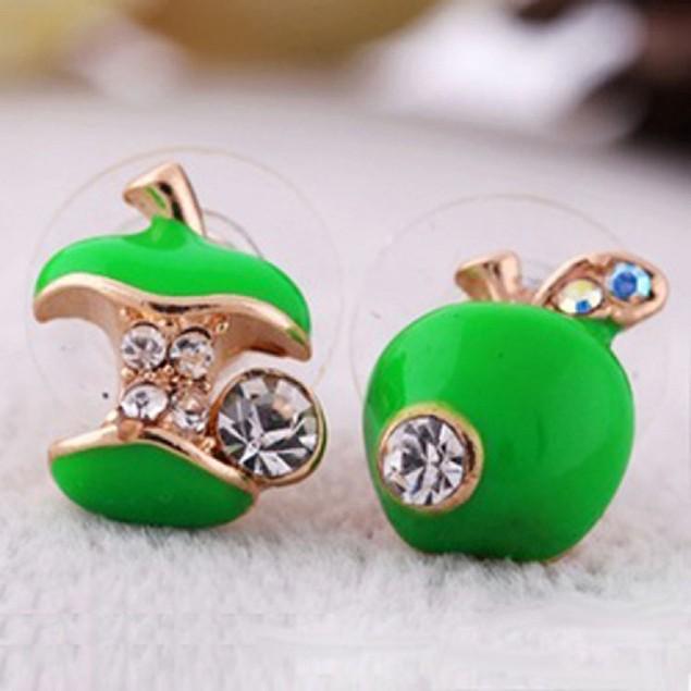 Bright Green Apple Huggie Earrings
