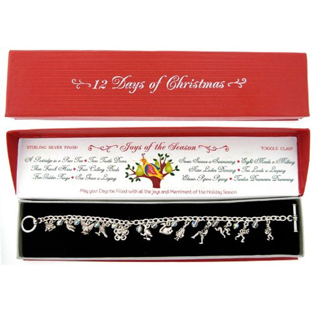"""""""12 Days of Christmas"""" Charm Bracelet with Gift Box"""