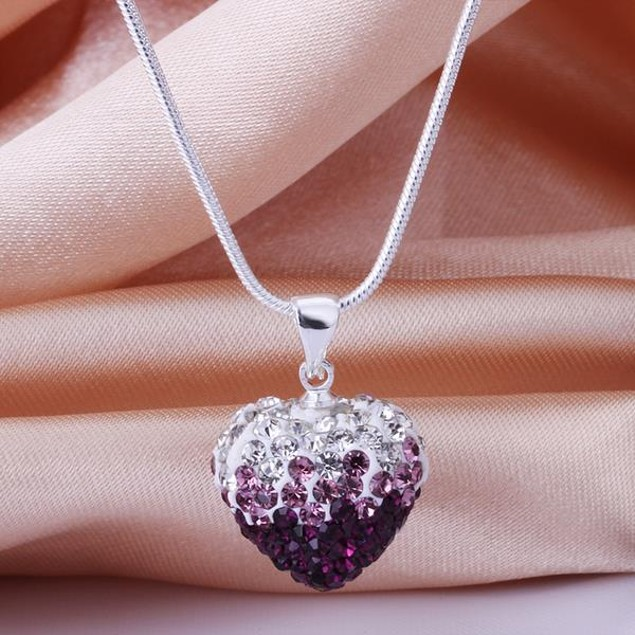 Two Toned Crystal Austrian Stone Heart Shaped Necklace - Lavender