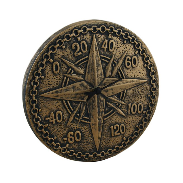Bronze Finish Terracotta Compass Rose Wall Outdoor Thermometers