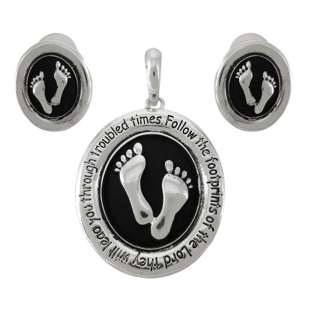Silvertone Christian Footprints Pendant / Earrings Womens Earring And