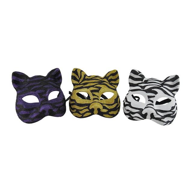Set Of 3 Sparkling Animal Stripe Gotto Carnivale Mens Costume Masks