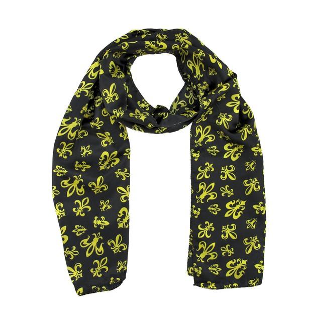 Black Satin Scarf With Gold Fleur De Lis Designs Womens Fashion Scarves