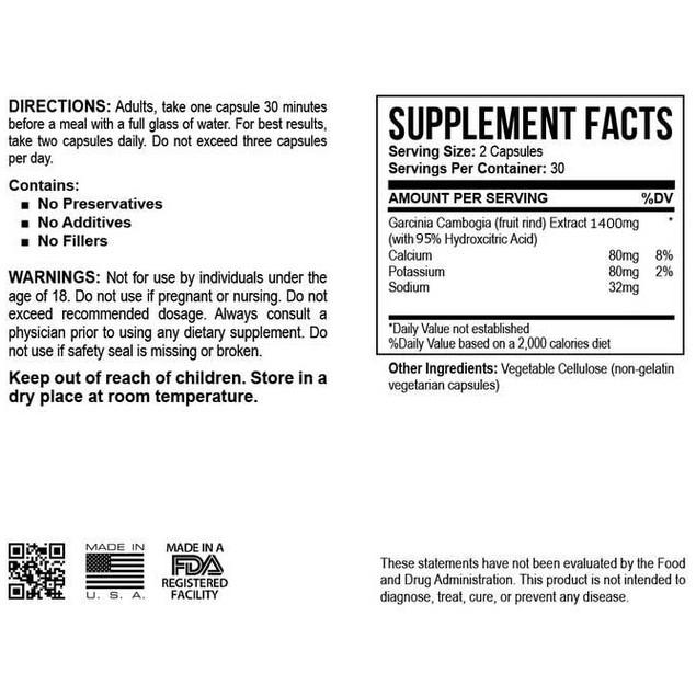 Pure Garcinia Cam Bogia Extract Maximum 95% HCA - 1 Bottle