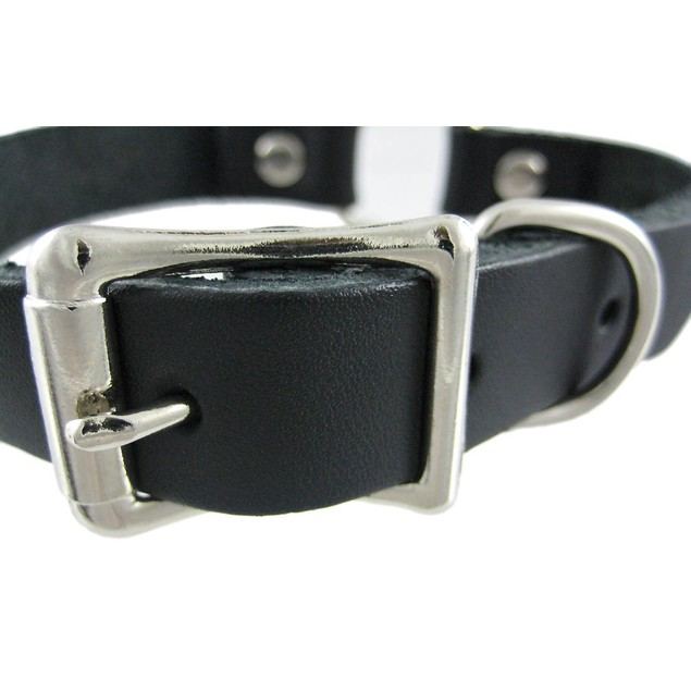 Ladies Black Leather Collar Choker Chrome Ring Mens Collar Necklaces