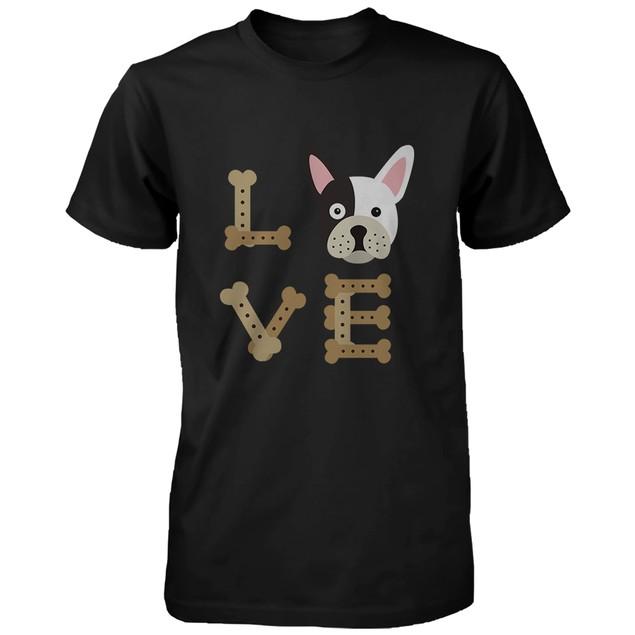 Bulldog LOVE Men's Black Shirt Gift for Puppy Lover Cute Tee for Dog Owner