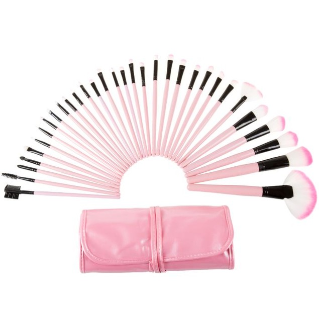 Everyday Home 32-Piece Makeup Brush Set with Pink Pouch