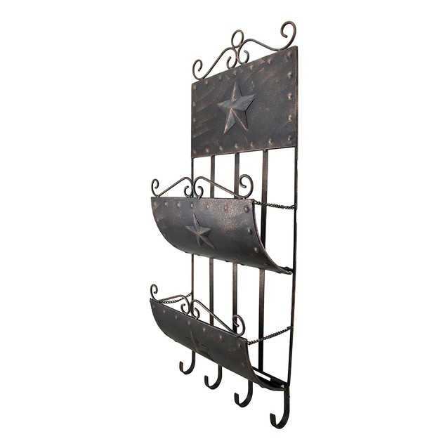 Rustic Western Star Metal Wall Mounted Mail Center Decorative Wall Hooks
