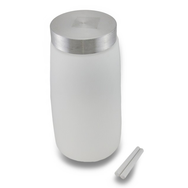 Frosted Glass Storage Jar W/Metal Twist Top Lid Canisters