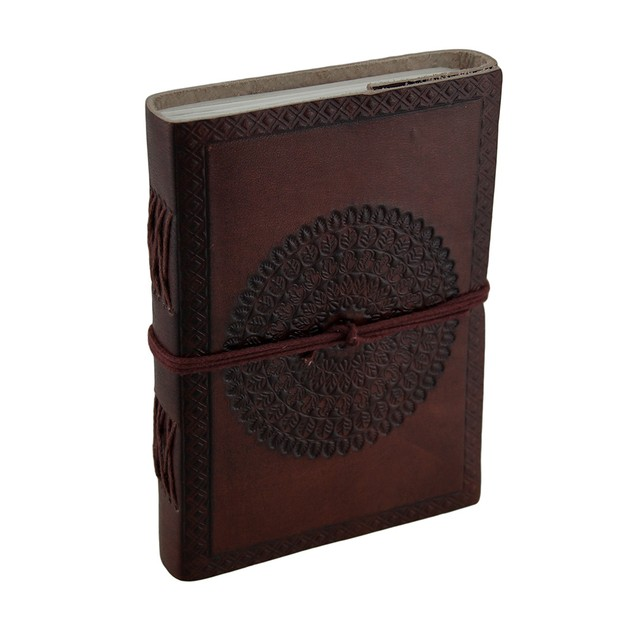 Embossed Mandala Brown Leather Bound Journal W/Tie Journal