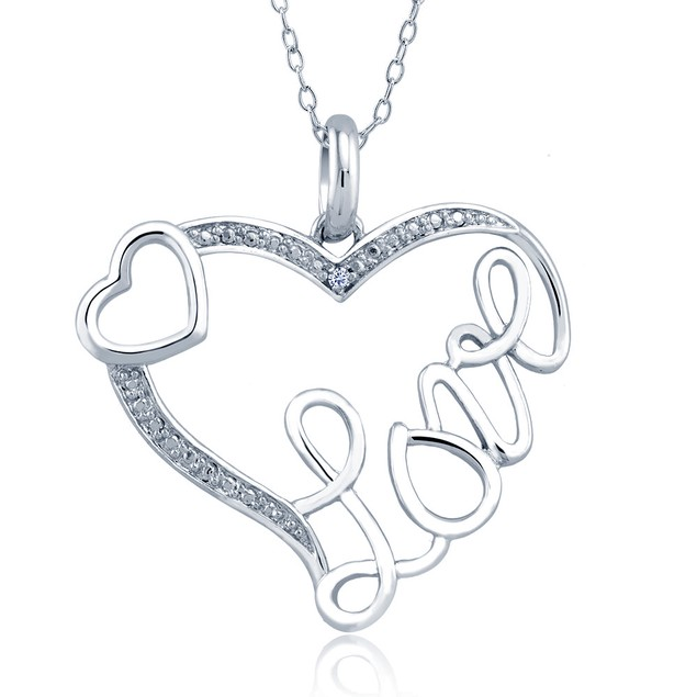 1/10cttw Diamond Accent Love Heart Necklace