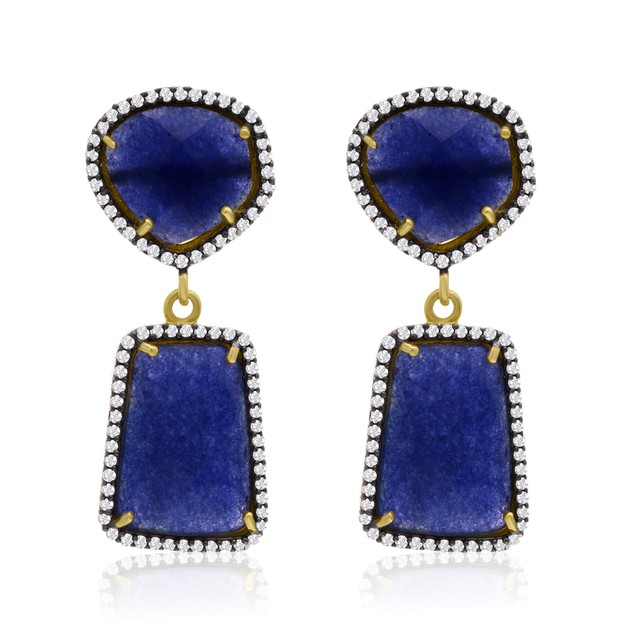 14k Gold 56ct Sapphire and CZ Earrings