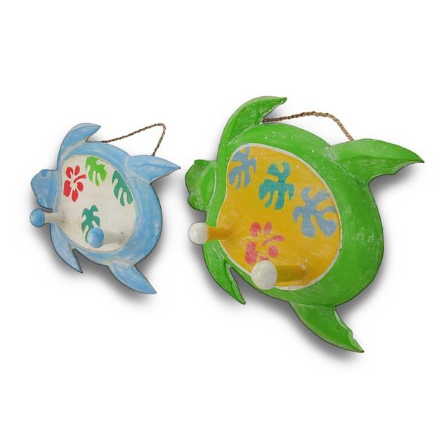 Charming Wood Sea Turtle Double Peg Wall Hook Set Decorative Wall Hooks