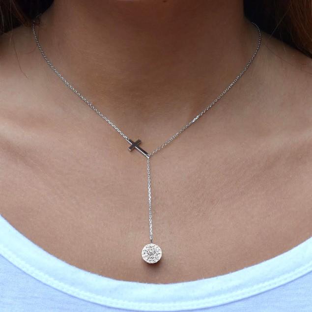 Swarovski Element Cross Y Necklace in Sterling Silver