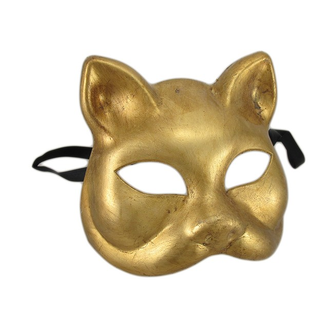 Gold Finish Half Face Carnivale Gatto Cat Masks Mens Costume Masks