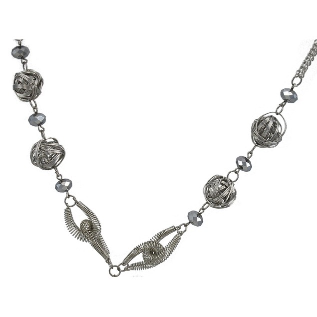 40 In. Chrome Necklace With Spring And Wire Chain Necklaces