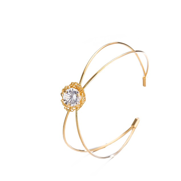 Gold Plated Laser Cut Duo-Lined Swarovski Open Bangle