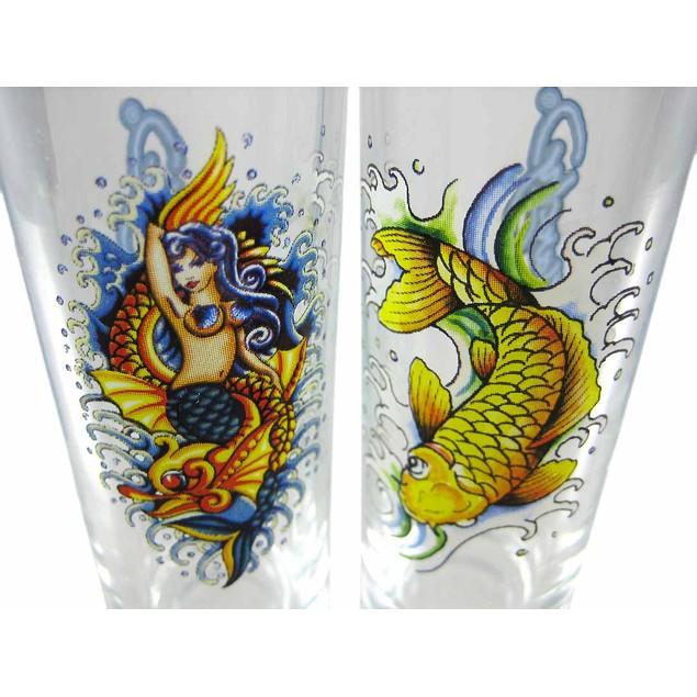 Set Of 4 Ed Hardy Ocean Tattoo Tall Shooter Shot Glasses