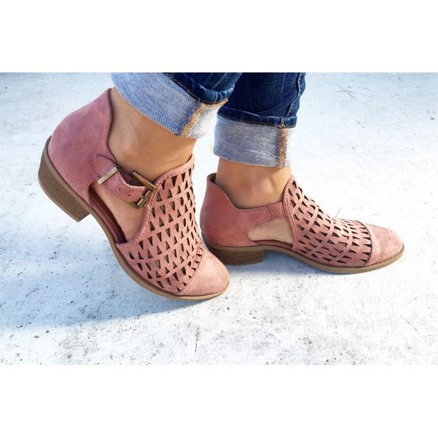 Mata Women's Cut Out Diamond Flat Booties