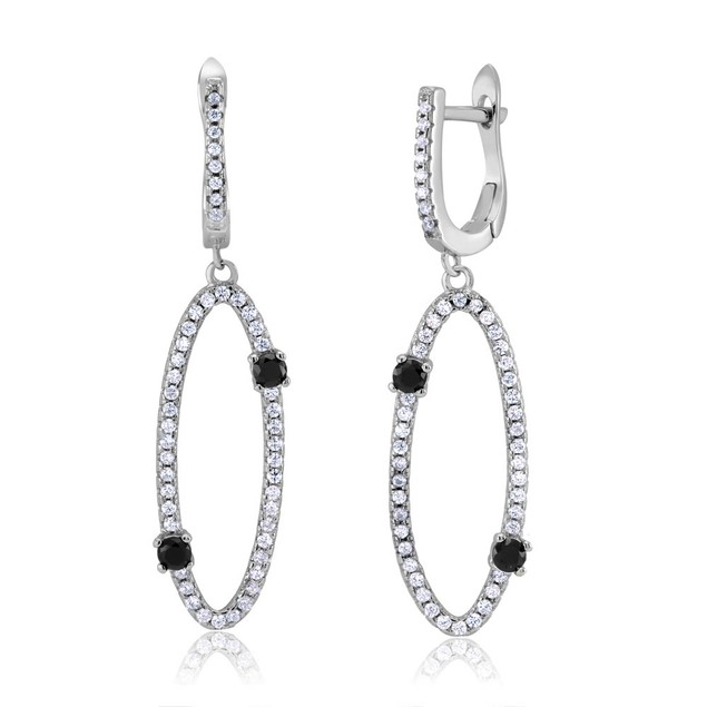 Sterling Silver Long Oval Cubic Zirconia Earrings