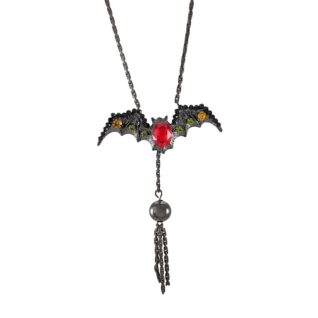 Gunmetal Gothic Rhinestone Vampire Bat Necklace Chain Necklaces