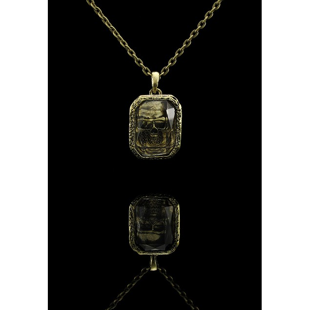 Brass Finished Gemstone Entombed Skull Necklace Chain Necklaces