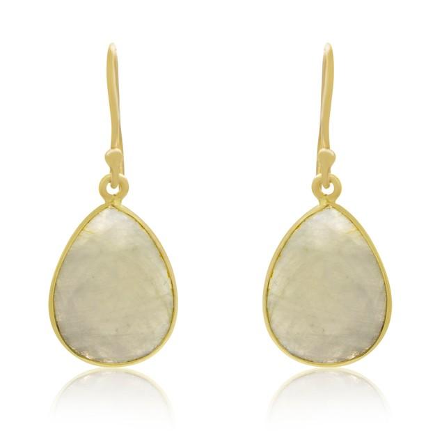 Gold Tone 12 Carat Moonstone Pear Shape Earrings