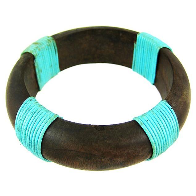 1 Inch Wide Wooden Bangle Bracelet Turquoise Blue Womens Bangle Bracelets