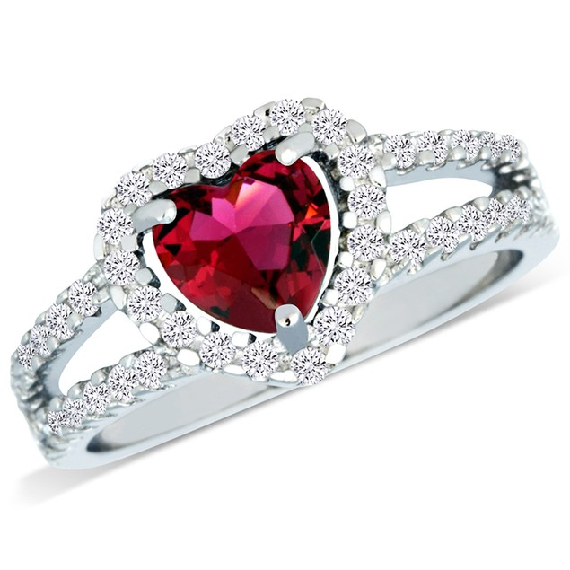 Sterling Silver Simulated Ruby Diamond  Heart Shaped Ring