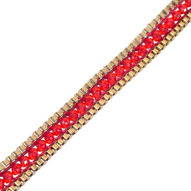 Red Crystal & Gold Tone Box Chain Wrap Bracelet