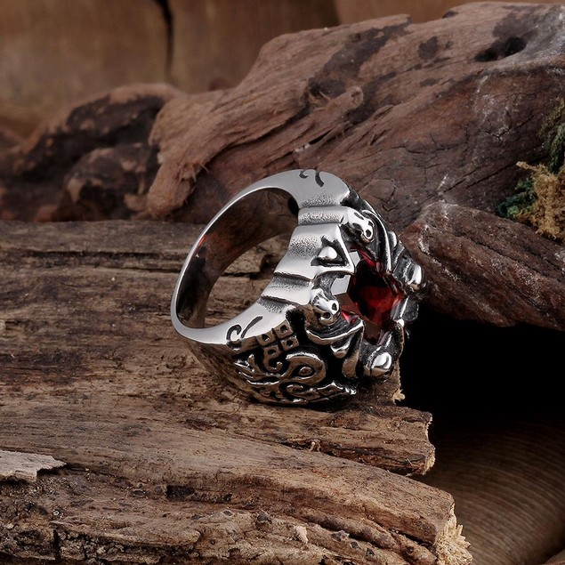 Centerpiece Ruby Gem Stainless Steel Ring