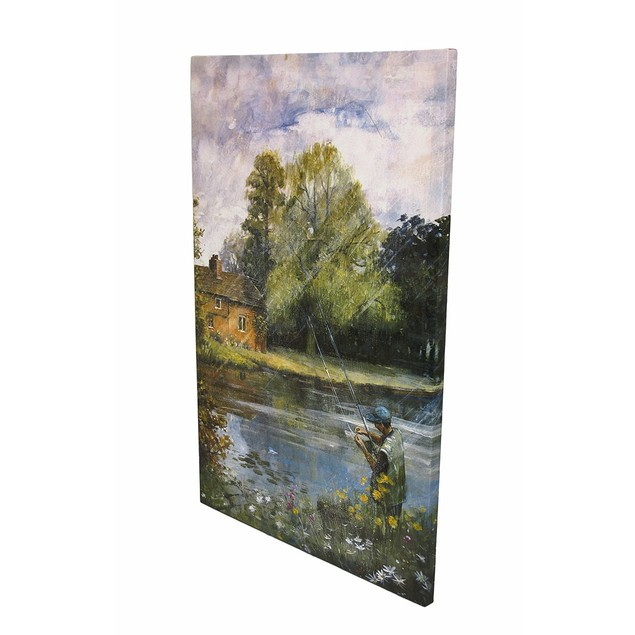 Fly Fishing On The River Printed Canvas 36 In. X Prints