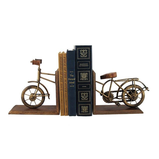 Set Of 2 Vintage Bicycle Front And Back Antique Decorative Bookends